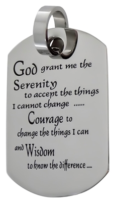 Serenity Prayer Dog Tag Pendant