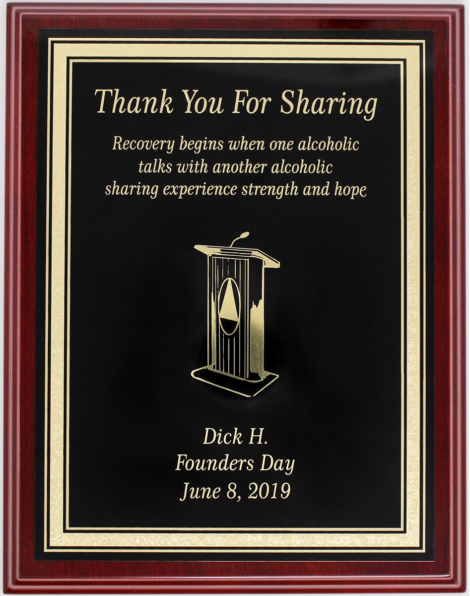 Aa Thank You For Sharing Custom Plaque