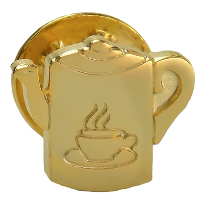 Gold Plated Coffee Pot Lapel Pin