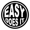 Easy Does It Black Circle Sticker